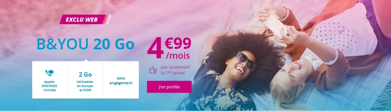 Forfait Bouygues Appels Et Sms Mms Illimites 20go A 4 99 Mois